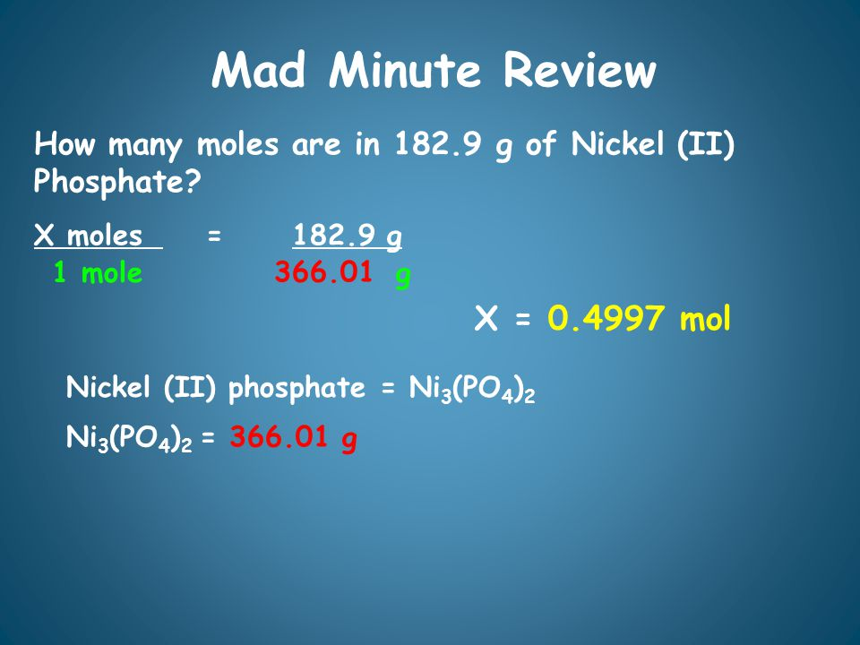 Mad Minute Review How many moles are in 182.9 g of Nickel (II) Phosphate.