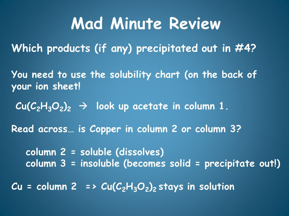 Mad Minute Review Which products (if any) precipitated out in #4.