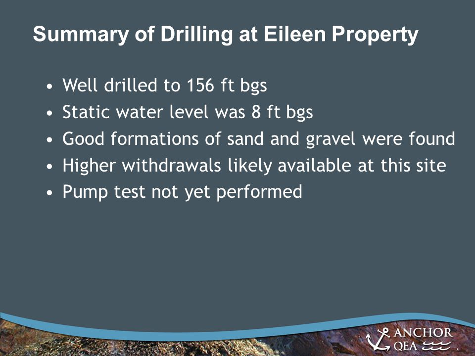 Alternative 4 – Detailed Summary (Cont.) Reduced Upper East System –Groundwater well supply – 2.5 cfs –Pressurized PVC pipe system –Approx.