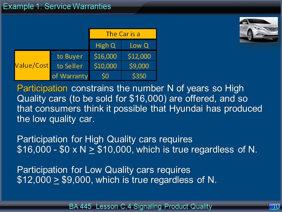 10 BA 445 Lesson C.4 Signaling Product Quality Participation constrains the number N of years so High Quality cars (to be sold for $16,000) are offered, and so that consumers think it possible that Hyundai has produced the low quality car.