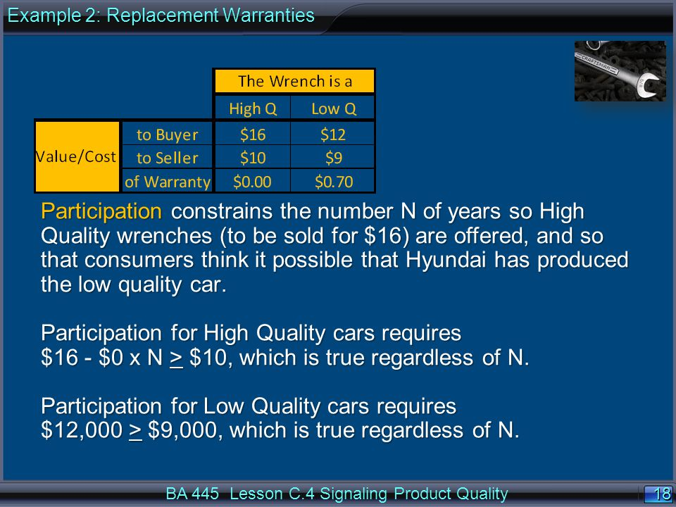 18 BA 445 Lesson C.4 Signaling Product Quality Participation constrains the number N of years so High Quality wrenches (to be sold for $16) are offered, and so that consumers think it possible that Hyundai has produced the low quality car.