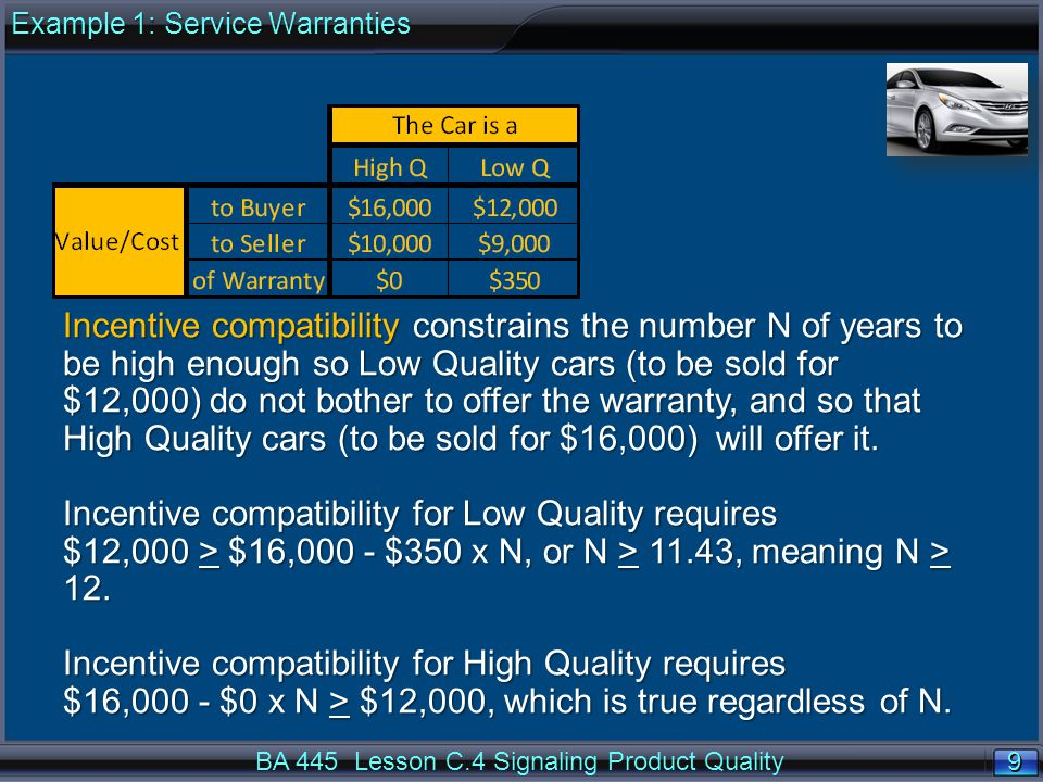 9 9 BA 445 Lesson C.4 Signaling Product Quality Incentive compatibility constrains the number N of years to be high enough so Low Quality cars (to be sold for $12,000) do not bother to offer the warranty, and so that High Quality cars (to be sold for $16,000) will offer it.