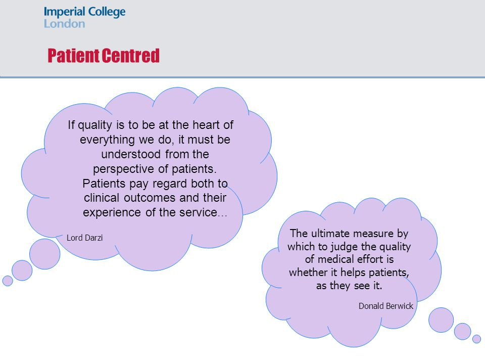 Patient Centred If quality is to be at the heart of everything we do, it must be understood from the perspective of patients.
