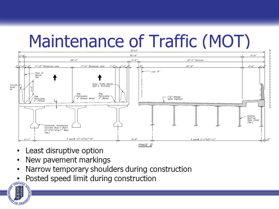 Maintenance of Traffic (MOT) 2 lanes of traffic at all times Least disruptive option New pavement markings Narrow temporary shoulders during construction Posted speed limit during construction
