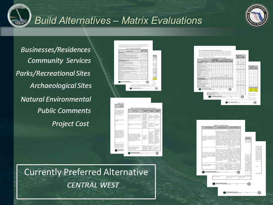 Build Alternatives – Matrix Evaluations Businesses/Residences Community Services Parks/Recreational Sites Archaeological Sites Public Comments Project