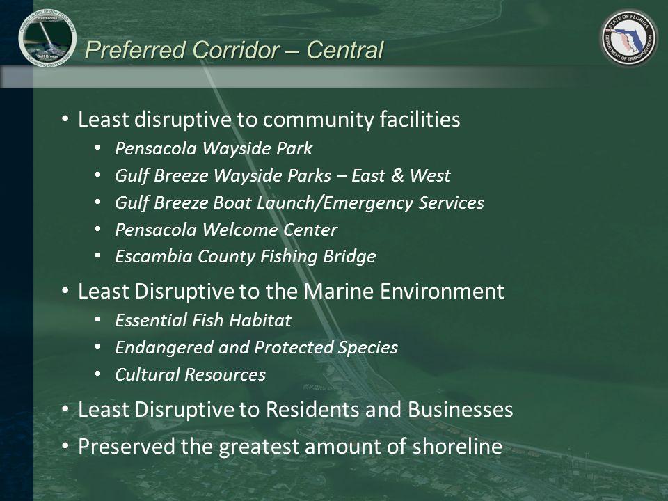 Preferred Corridor – Central Least disruptive to community facilities Pensacola Wayside Park Gulf Breeze Wayside Parks – East & West Gulf Breeze Boat