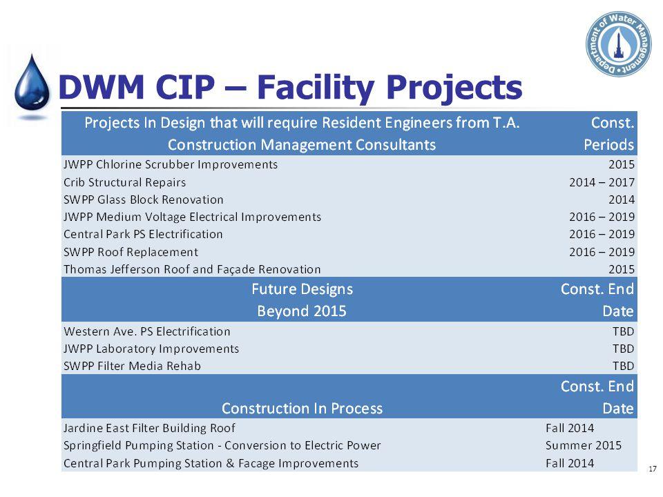 DWM CIP – Facility Projects 17