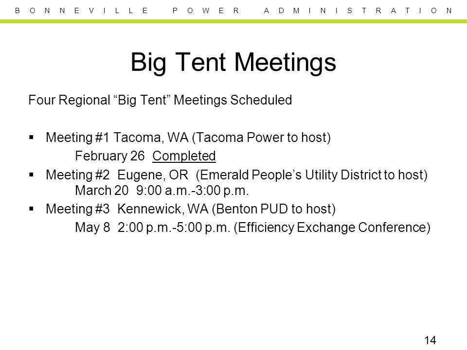 B O N N E V I L L E P O W E R A D M I N I S T R A T I O N Big Tent Meetings Four Regional Big Tent Meetings Scheduled Meeting #1 Tacoma, WA (Tacoma Power to host) February 26 Completed Meeting #2 Eugene, OR (Emerald Peoples Utility District to host) March 20 9:00 a.m.-3:00 p.m.