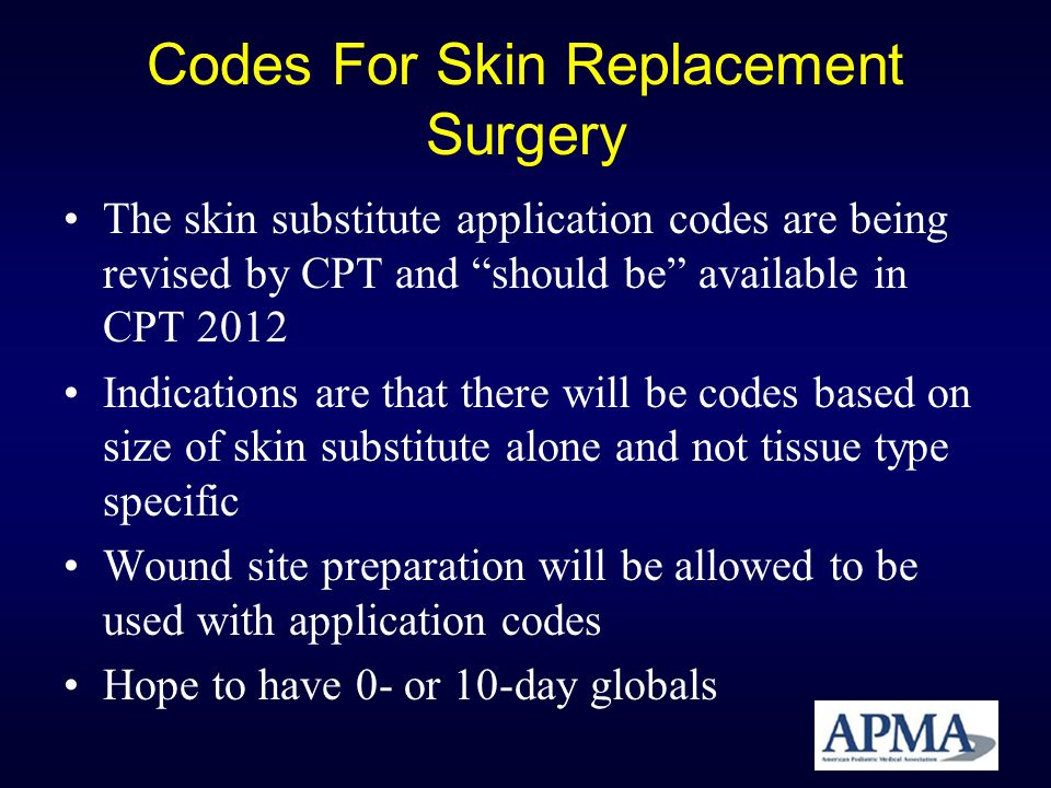 Codes For Skin Replacement Surgery The skin substitute application codes are being revised by CPT and should be available in CPT 2012 Indications are