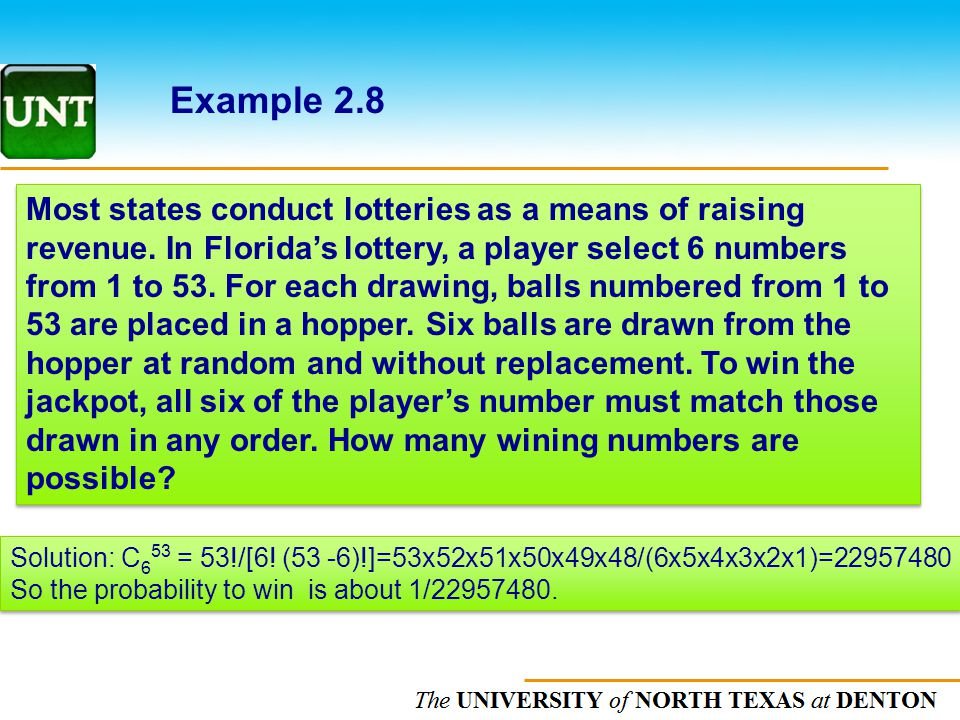 The UNIVERSITY of NORTH CAROLINA at CHAPEL HILL Example 2.8 Most states conduct lotteries as a means of raising revenue. In Floridas lottery, a player