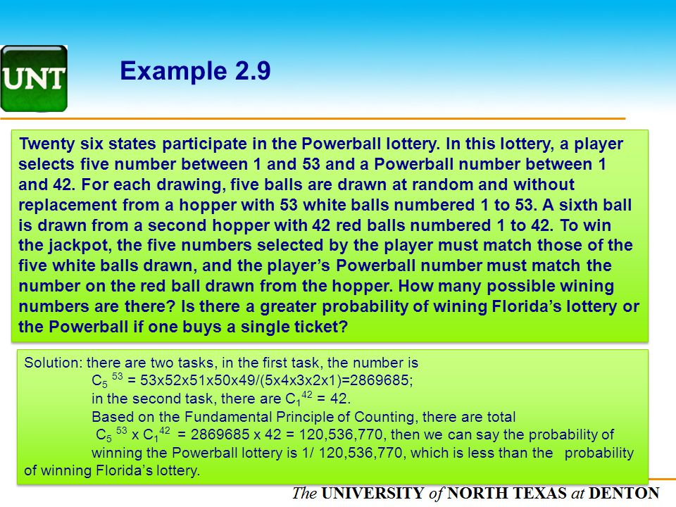 The UNIVERSITY of NORTH CAROLINA at CHAPEL HILL Example 2.9 Twenty six states participate in the Powerball lottery. In this lottery, a player selects