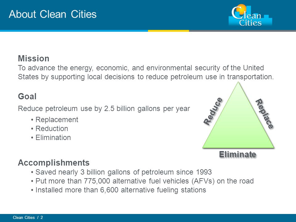 Clean Cities / 2 About Clean Cities Mission To advance the energy, economic, and environmental security of the United States by supporting local decisions to reduce petroleum use in transportation.