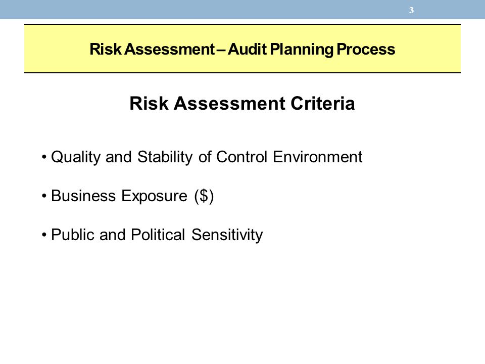 3 Risk Assessment – Audit Planning Process Risk Assessment Criteria Quality and Stability of Control Environment Business Exposure ($) Public and Political Sensitivity