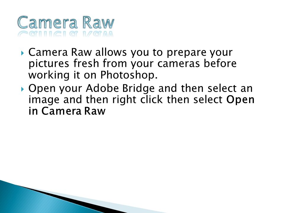 Camera Raw allows you to prepare your pictures fresh from your cameras before working it on Photoshop.