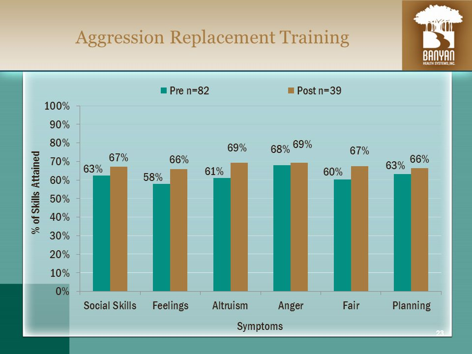 Aggression Replacement Training 23 Symptoms % of Skills Attained