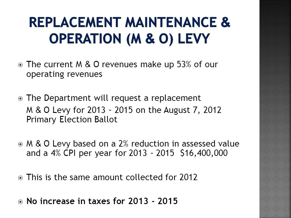 The current M & O revenues make up 53% of our operating revenues The Department will request a replacement M & O Levy for 2013 – 2015 on the August 7, 2012 Primary Election Ballot M & O Levy based on a 2% reduction in assessed value and a 4% CPI per year for 2013 – 2015 $16,400,000 This is the same amount collected for 2012 No increase in taxes for 2013 - 2015