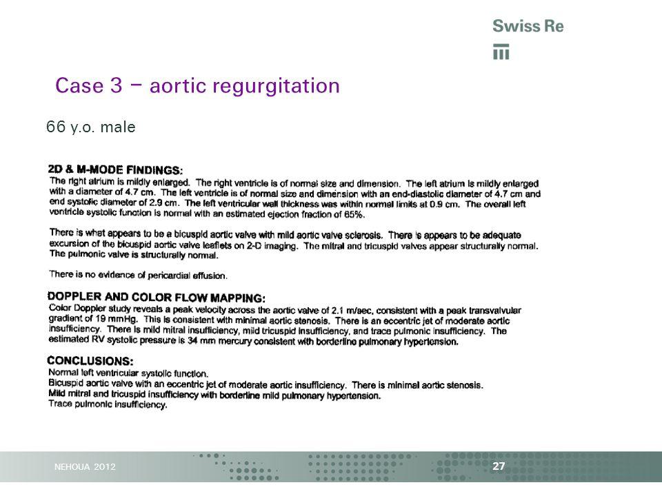 NEHOUA 2012 27 Case 3 – aortic regurgitation 66 y.o. male