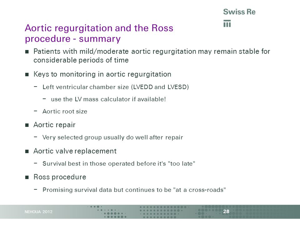 NEHOUA 2012 Patients with mild/moderate aortic regurgitation may remain stable for considerable periods of time Keys to monitoring in aortic regurgita
