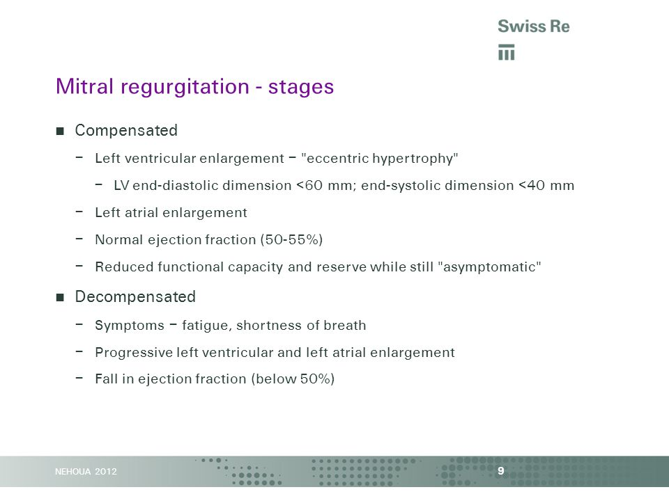 NEHOUA 2012 Left atrial diameter >55 mm or volume >40 ml/m 2 identifies a higher risk 10 Mitral regurgitation – impact of left atrial size CIRC_img (Rusinaru) 2011; JACC (Le Tourneau) 2010 Rusinaru Le Tourneau