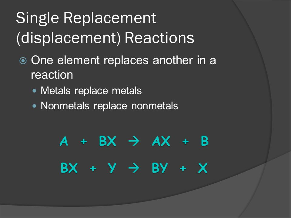 Single Replacement (displacement) Reactions One element replaces another in a reaction Metals replace metals Nonmetals replace nonmetals A + BX AX + B BX + Y BY + X