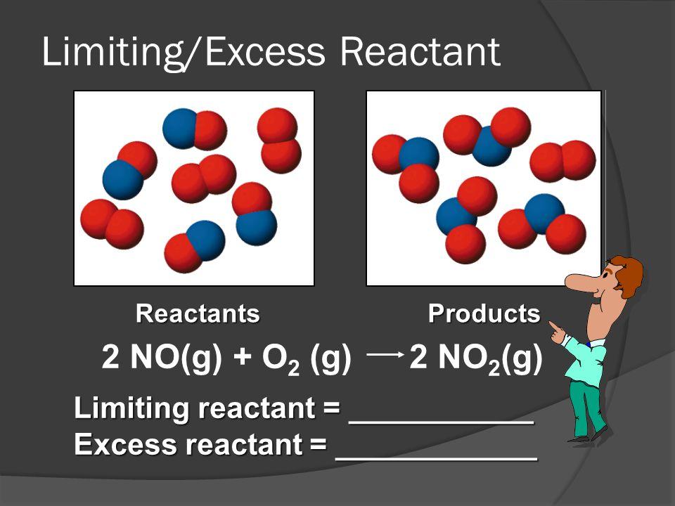 ReactantsProducts 2 NO(g) + O 2 (g) 2 NO 2 (g) Limiting reactant = ___________ Excess reactant = ____________ Limiting/Excess Reactant