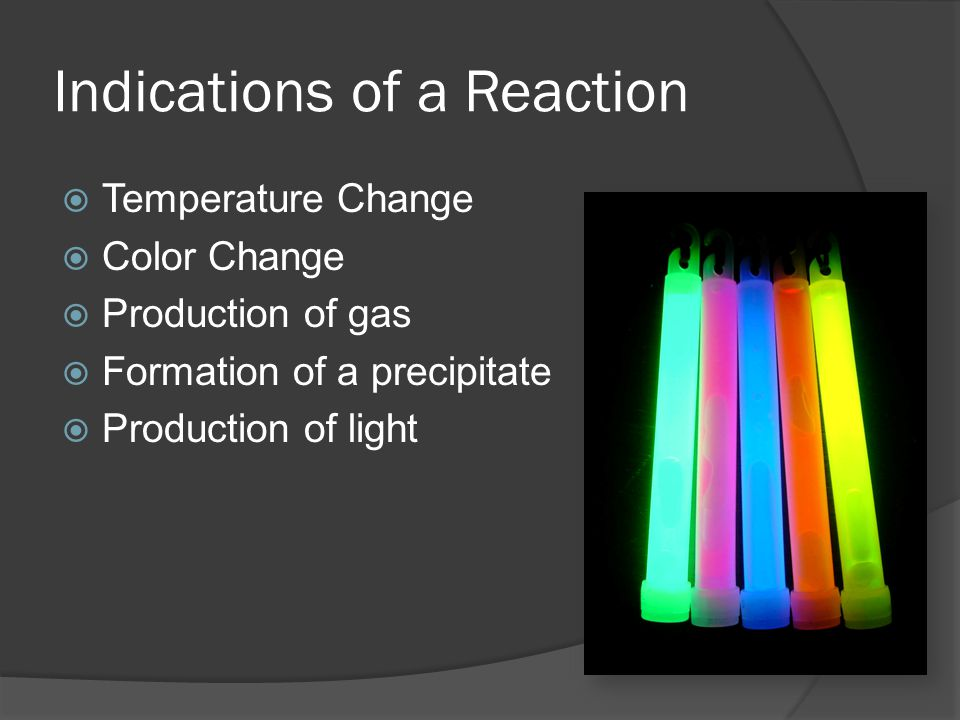 Indications of a Reaction Temperature Change Color Change Production of gas Formation of a precipitate Production of light