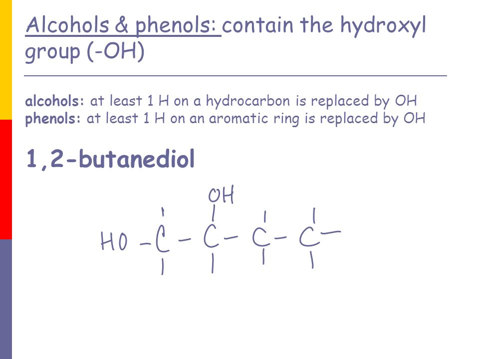 ethers: compounds in which an O atom is bonded to 2 organic groups: -C-O-C- methoxymethane (dimethyl ether)