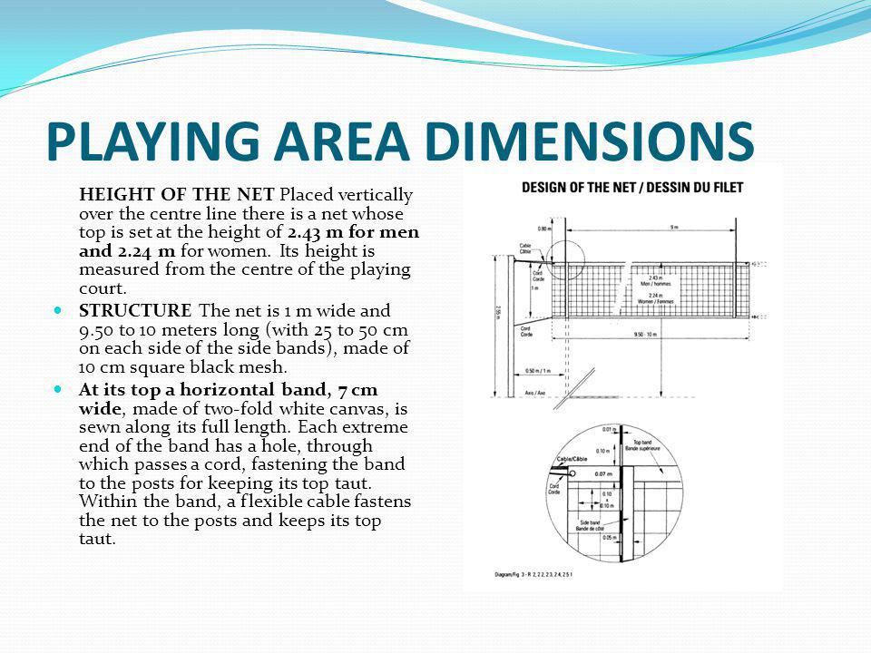 PLAYING AREA DIMENSIONS At the bottom of the net there is another horizontal band, 5cm wide, similar to the top band, through which is threaded a rope.