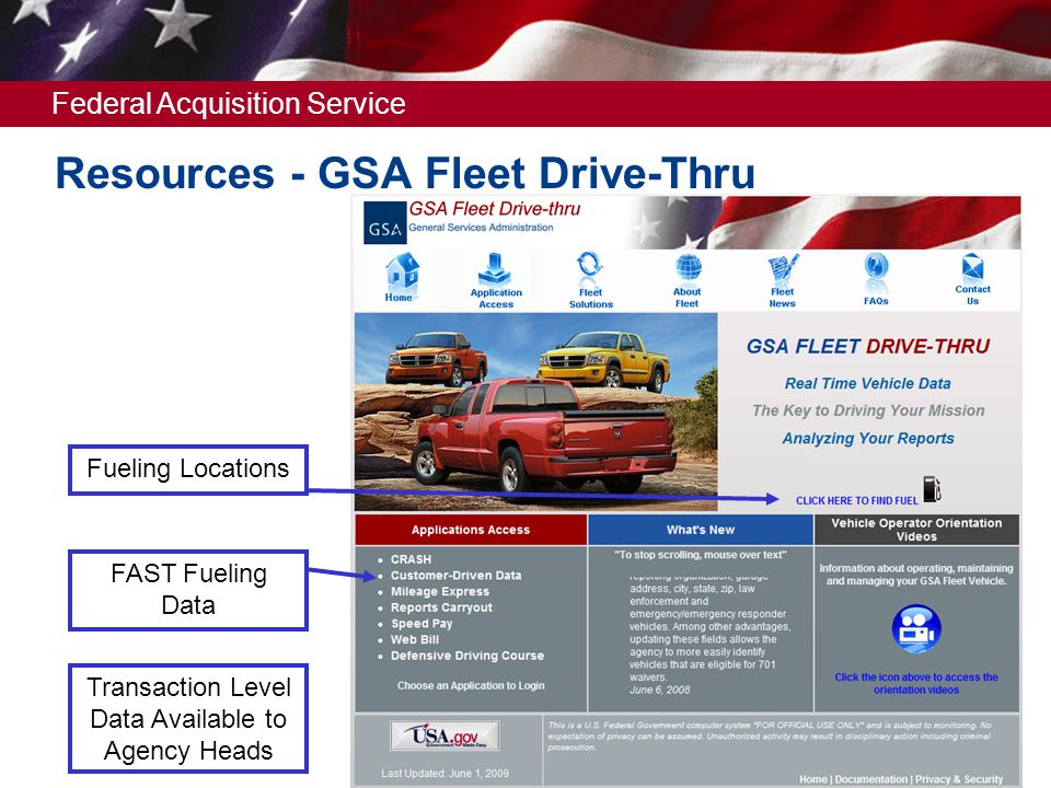 Federal Acquisition Service Resources - GSA Fleet Drive-Thru Fueling Locations FAST Fueling Data Transaction Level Data Available to Agency Heads