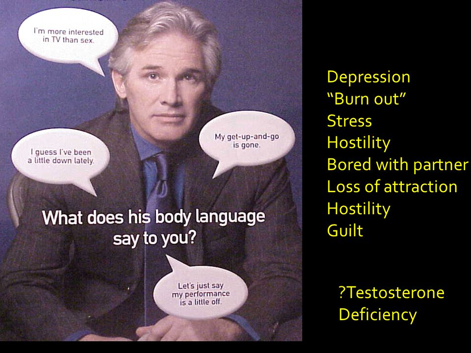 Depression Burn out Stress Hostility Bored with partner Loss of attraction Hostility Guilt ?Testosterone Deficiency