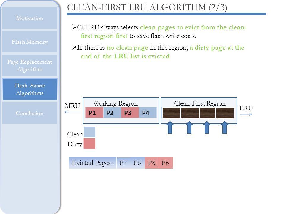 Flash-Aware Algorithms Motivation Flash Memory Page Replacement Algorithm Conclusion CLEAN-FIRST LRU ALGORITHM (2/3) P1P2P3P4P5P6P7P8 Working RegionCl