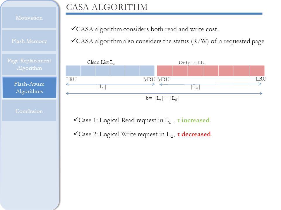 Flash-Aware Algorithms Motivation Flash Memory Page Replacement Algorithm Conclusion CASA ALGORITHM CASA algorithm considers both read and write cost.