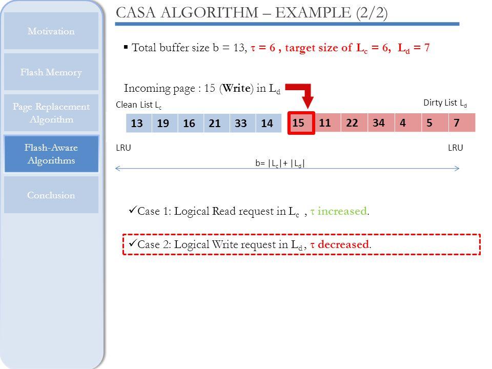Flash-Aware Algorithms Motivation Flash Memory Page Replacement Algorithm Conclusion CASA ALGORITHM – EXAMPLE (2/2) LRU b= |L c |+ |L d | Clean List L