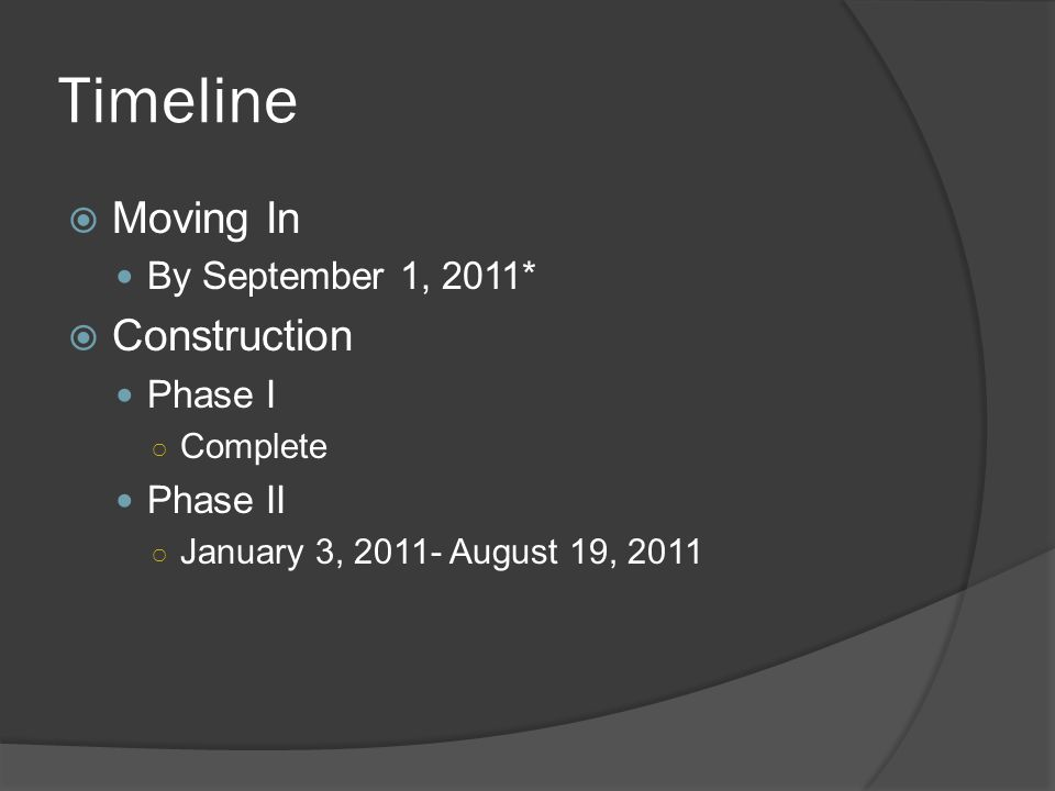 Timeline Moving In By September 1, 2011* Construction Phase I Complete Phase II January 3, 2011- August 19, 2011