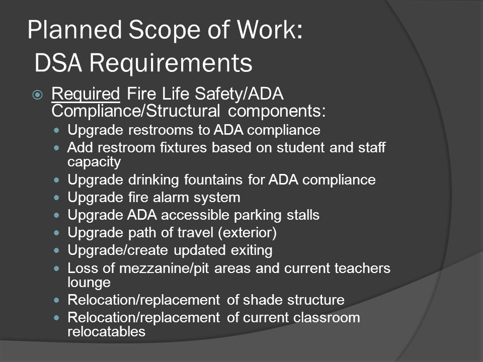 Planned Scope of Work: Maintenance Needs Scope includes: Roof replacement Flooring replacement New PA/Clock system Electrical upgrade Paint all interior/exterior surfaces HVAC control replacement