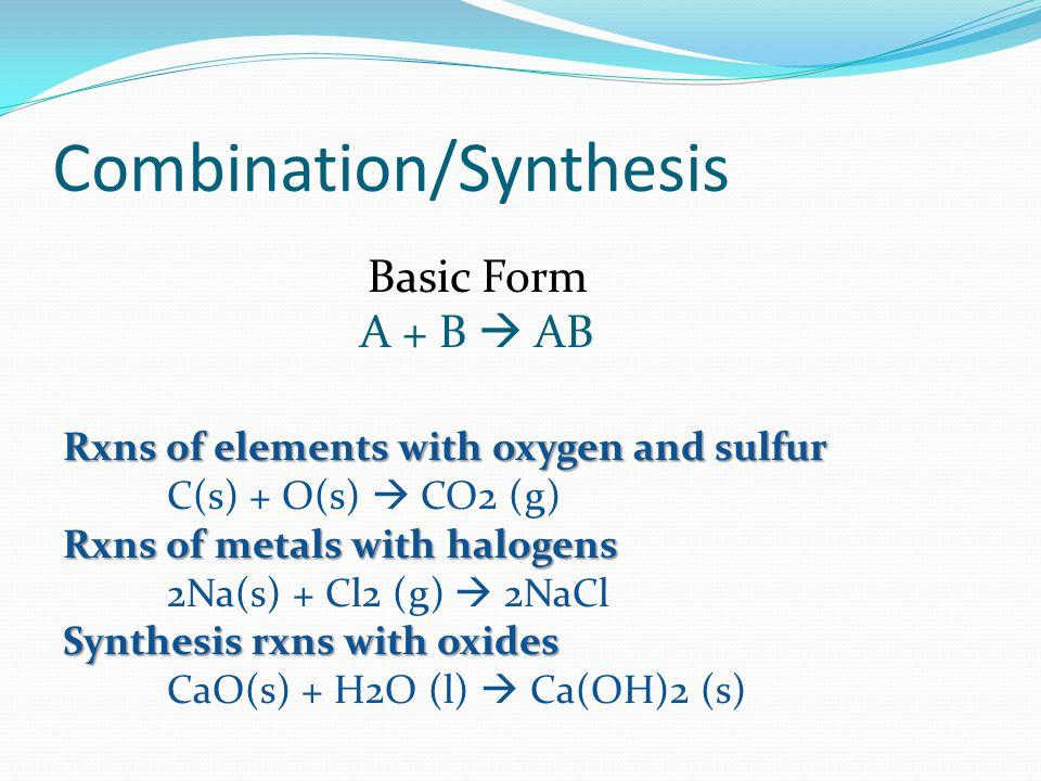 Decomposition Basic Form AB A + B Binary compounds 2H2O (l) 2H2 (g) + O2 (g) Metal hydroxides Cu(OH)2 (s) CuO(s) + H2O (l)