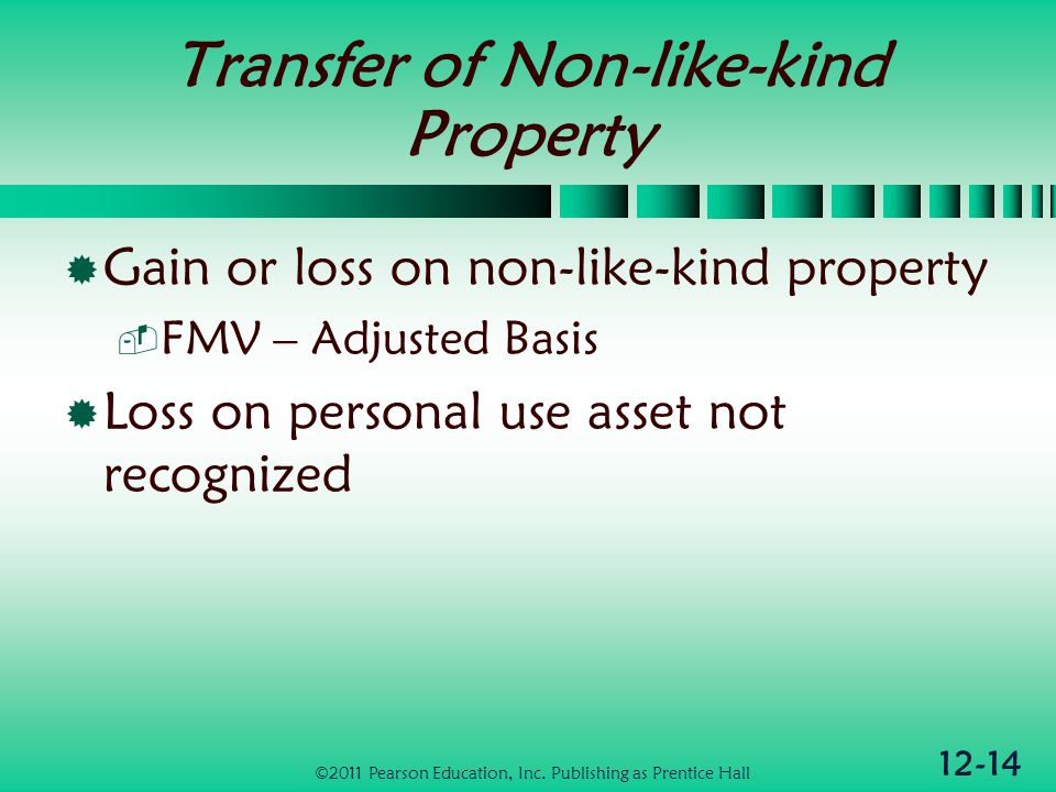 12-14 Transfer of Non-like-kind Property Gain or loss on non-like-kind property FMV – Adjusted Basis Loss on personal use asset not recognized ©2011 P