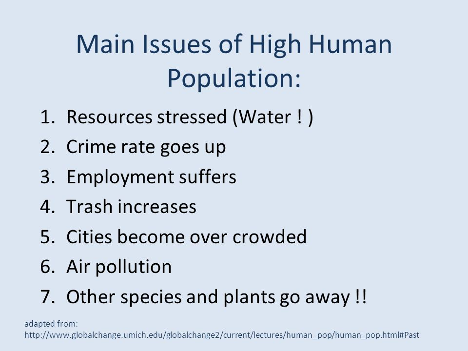 Main Issues of High Human Population: adapted from: http://www.globalchange.umich.edu/globalchange2/current/lectures/human_pop/human_pop.html#Past 1.R
