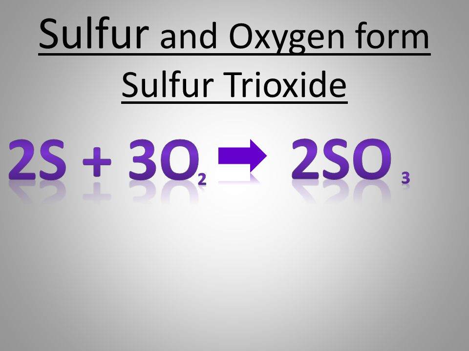 Sulfur and Oxygen form Sulfur Trioxide