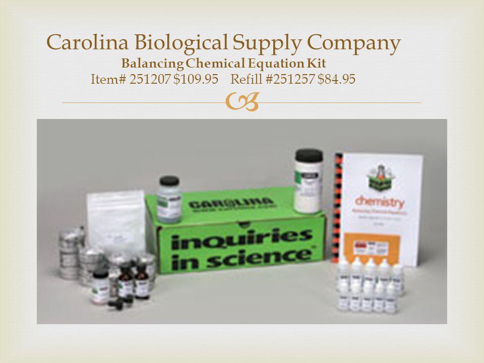 Carolina Biological Supply Company Balancing Chemical Equation Kit Item# 251207 $109.95 Refill #251257 $84.95