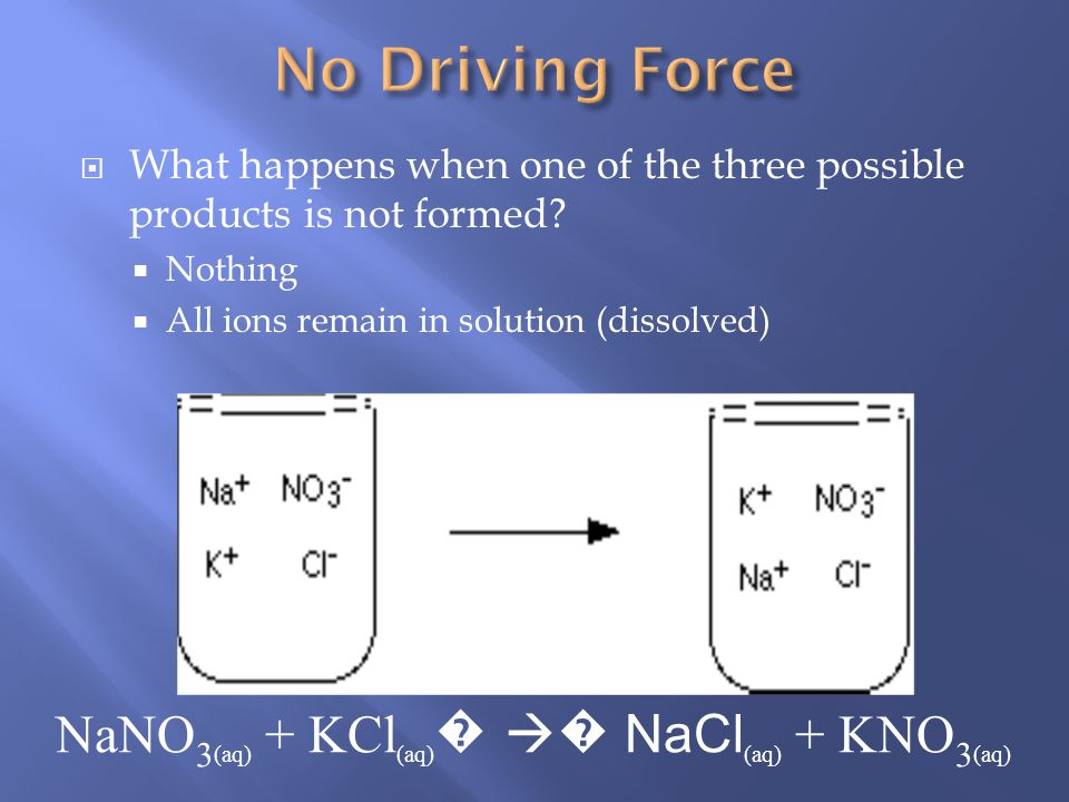 A reaction occurs when a pair of ions comes together to produce a substance that removes ions from the solution. one of the following must occur a pre