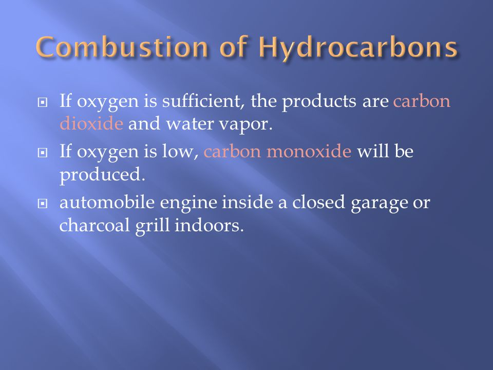 Complete Combustion: Hydrocarbon + oxygen CO 2 + H 2 O Complete combustion means the higher oxidation number is attained. Incomplete Combustion: Hydro