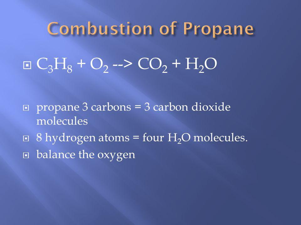 Hydrocarbon (C x H y ) + O 2(g) CO 2(g) + H 2 O (g) EX. CH 4(g) + 2O 2(g) CO 2(g) + 2H 2 O (g) EX. 2C 4 H 10(g) + 13O 2(g) 8CO 2(g) + 10H 2 O (g)