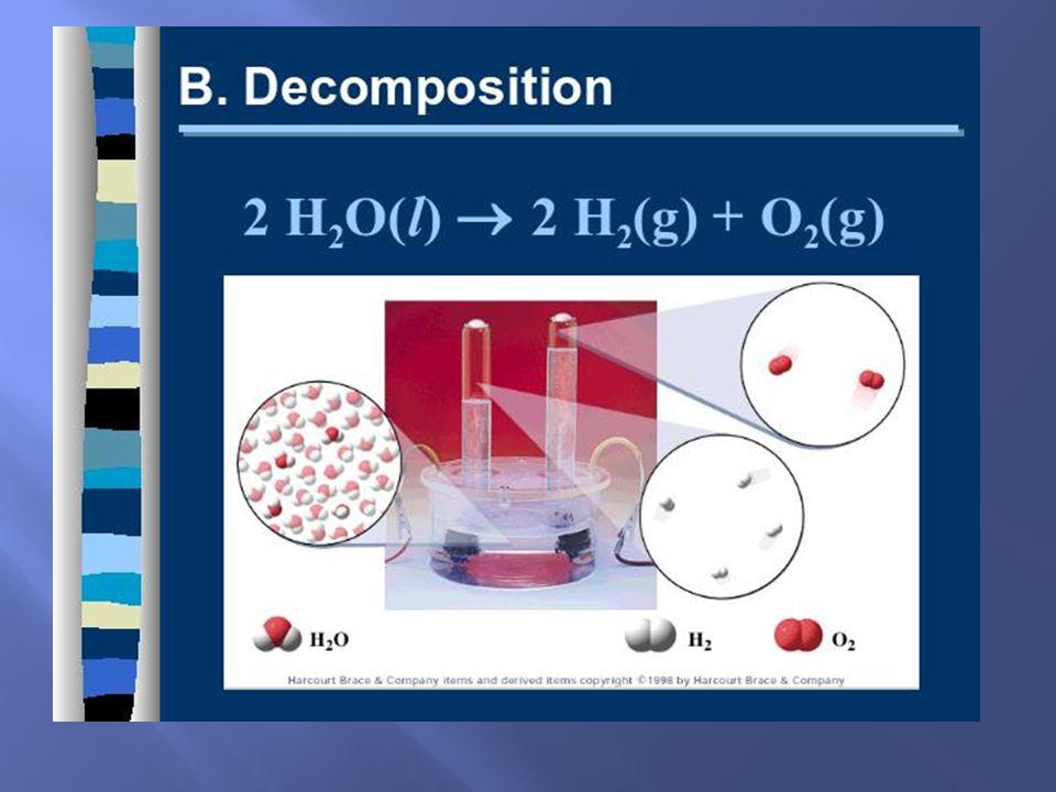 AB A + B Compound Cmpd/Elem + Elem/Cmpd One Reactant