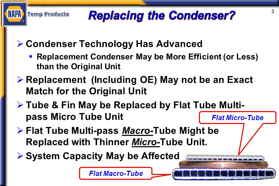 Condenser Technology Has Advanced Replacement Condenser May be More Efficient (or Less) than the Original Unit Replacement (Including OE) May not be an Exact Match for the Original Unit Tube & Fin May be Replaced by Flat Tube Multi- pass Micro Tube Unit Flat Tube Multi-pass Macro-Tube Might be Replaced with Thinner Micro-Tube Unit.