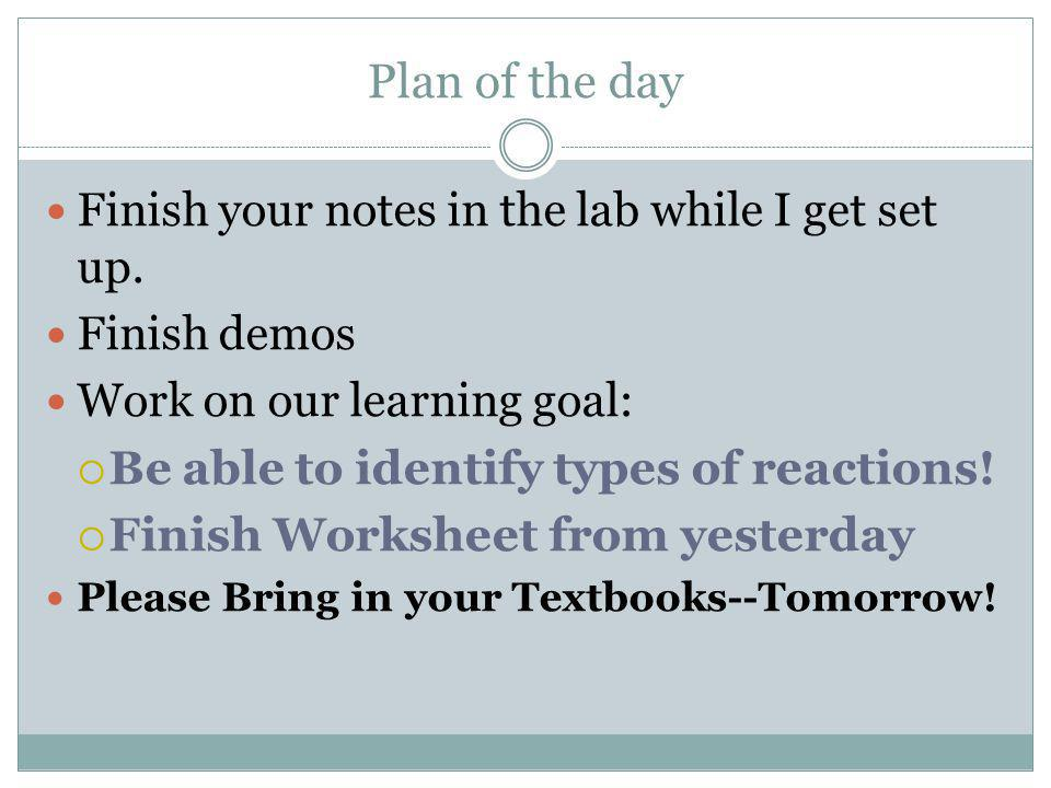 Plan of the day Major Reaction Types Get into a 5 groups Make a quick poster (big, bold, letters) These will be your notes for Reaction Types On your