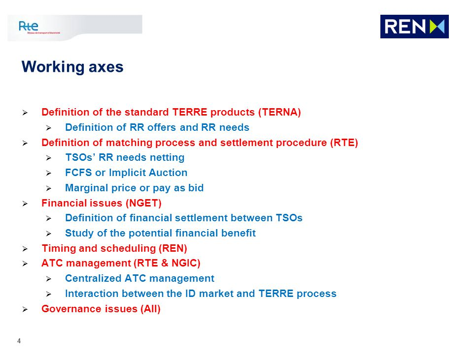 4 Working axes Definition of the standard TERRE products (TERNA) Definition of RR offers and RR needs Definition of matching process and settlement pr