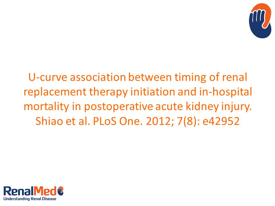 U-curve association between timing of renal replacement therapy initiation and in-hospital mortality in postoperative acute kidney injury. Shiao et al