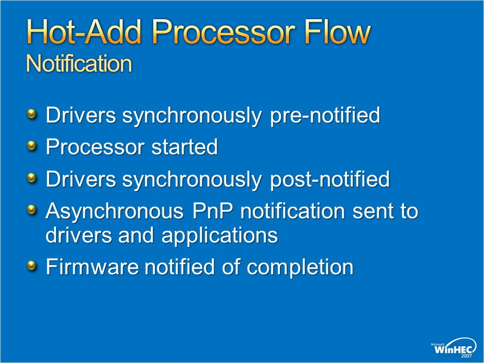 Drivers synchronously pre-notified Processor started Drivers synchronously post-notified Asynchronous PnP notification sent to drivers and application