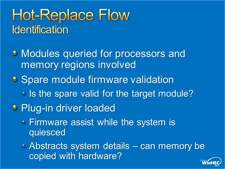 Modules queried for processors and memory regions involved Spare module firmware validation Is the spare valid for the target module? Plug-in driver l